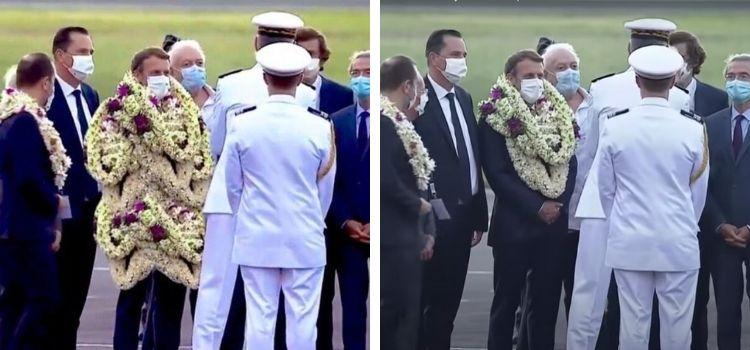 Fotoğrafın Fransa Cumhurbaşkanı Macron'u boydan boya çiçekle kaplı gösterdiği iddiası